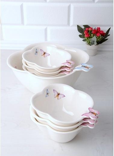La Vita Bella Kelebek Motifli Lüx Porselen 7 Parça Komposto Seti Beyaz